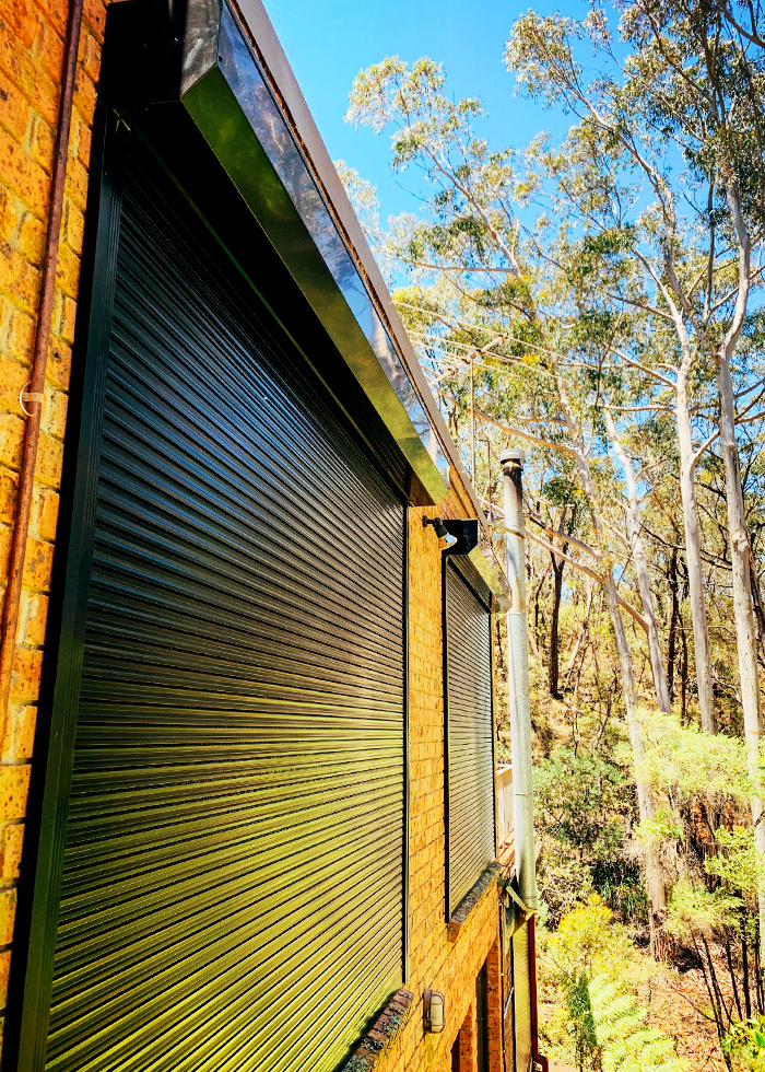 Pictured: BAL FZ shutters installed in the Blue mountains NSW in preparation for the 2019 bushfire season.